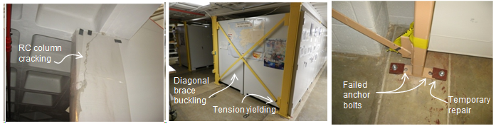 Figure 2.  Damage to Smithsonian Institute Museum Support Center: (a) stairwell concrete column failure at first mezzanine floor level; (b) diagonal brace buckling, tension yielding, and (c) anchor bolt failure of storage pod steel frame lateral load resisting system.